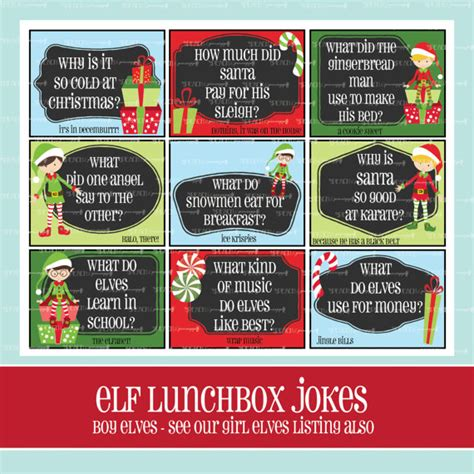 elf on the shelf printable joke cards boy elf lunchbox jokes printable christmas lunchbox notes