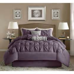 beautiful 7 pc tufted king size purple comforter bed set