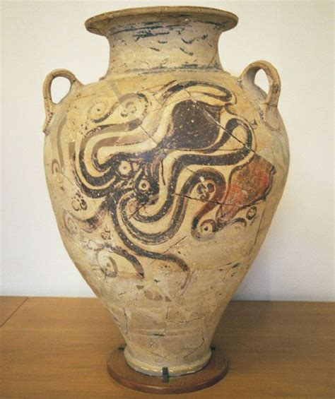 Octopus Vase Minoan by Pithos In The Marine Style With Octopus Decoration From The Last Phase Of The New Palace Period