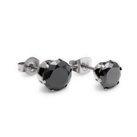 paire boucles d oreilles femme ado acier noir