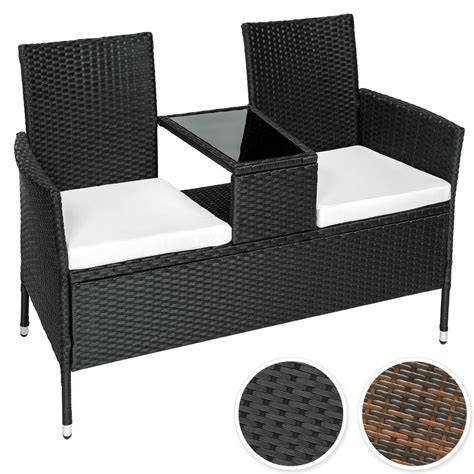 wicker bench seat poly rattan bench with glass table garden furniture 2