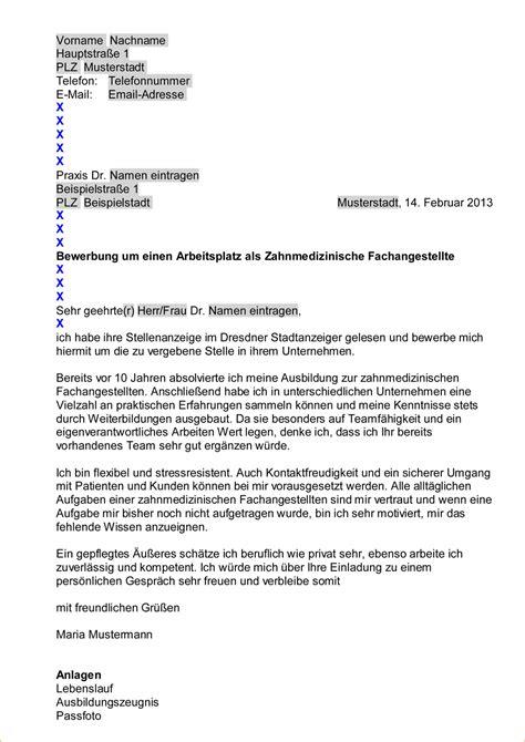 Bewerbungsschreiben Zfa 7 bewerbung zahnmedizinische fachangestellte muster