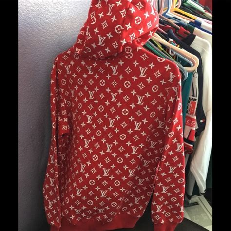 Supreme Lv Sweater louis vuitton sweaters new lv supreme hoodie size l