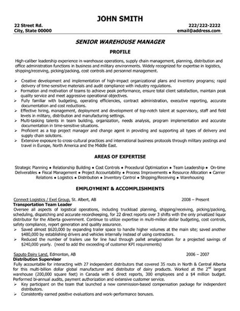 Warehouse Operations Manager Sle Resume by Senior Warehouse Manager Resume Template Premium Resume Sles Exle