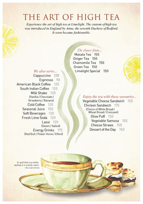 high tea menu on behance