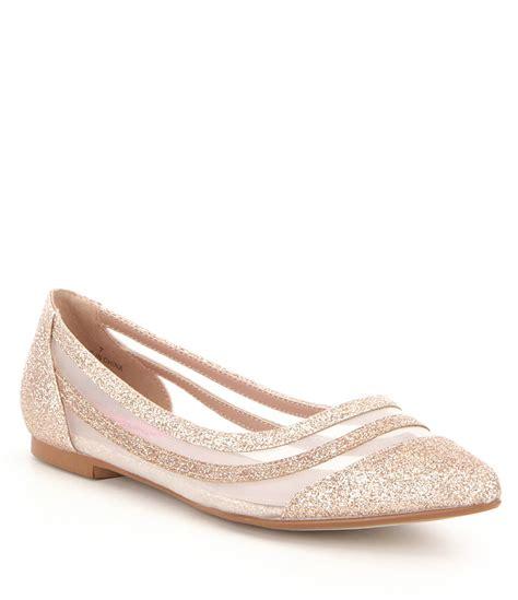 dillards flat shoes betsey johnson glitter mesh slip on flats dillards