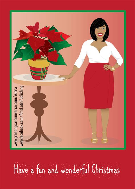 afrocentric christmas card beautiful curvy black african american woman wearing  red
