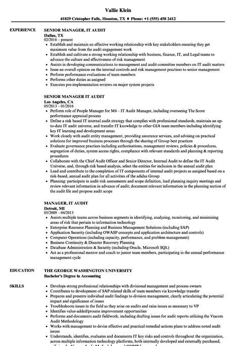 Audit Resume by Manager It Audit Resume Sles Velvet