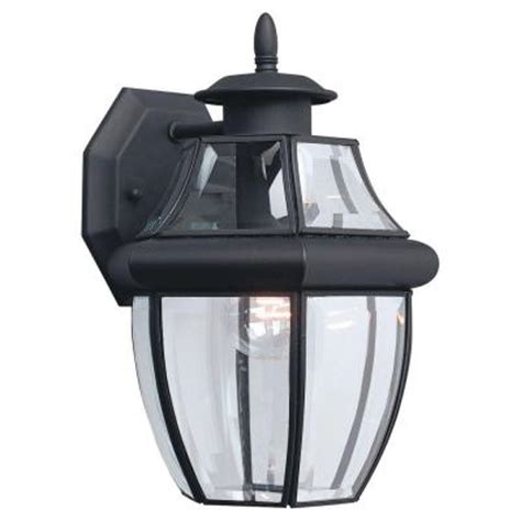 Home Depot Outdoor Wall Lighting Sea Gull Lighting Lancaster 1 Light Black Outdoor Wall Fixture 8038 12 The Home Depot