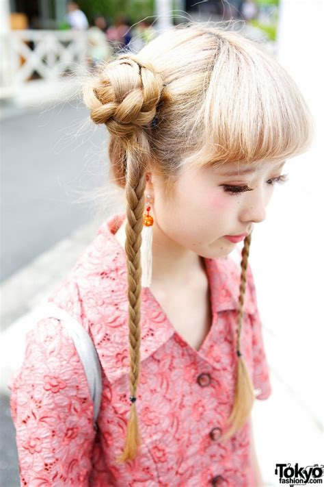 asian hairstyles buns cute braids hairstyle floral dress faux fur sandals
