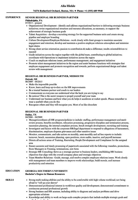 Hr Business Partner Resume by Regional Hr Business Partner Resume Sles Velvet