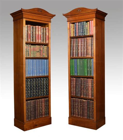 Narrow Open Bookcase Pair Of Walnut Narrow Open Bookcases Antiques Atlas