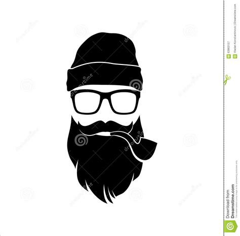 black and white mr fox a pipe design black and white with pipe mustaches stock vector