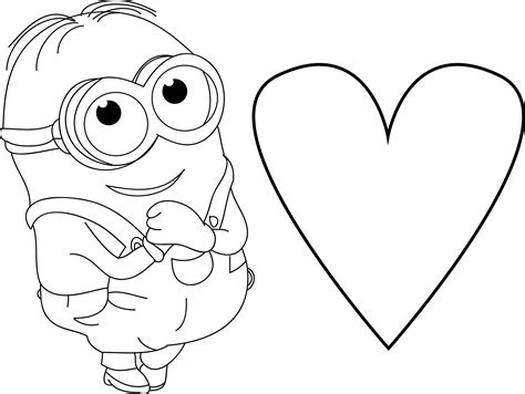 coloring pages cute minions minion very cute dave heart coloring page coloring