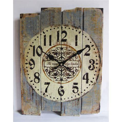 home decor clock retro antique silent no ticking wood wall clock shabby