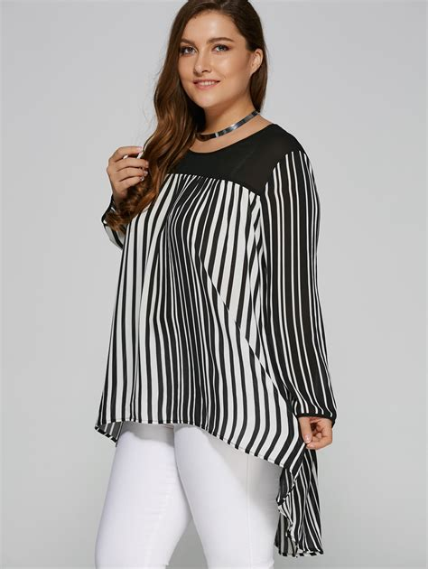 Maura Stripe Blouse Blouse And Black Plus Size Womens Sleeve White Black Stripe T
