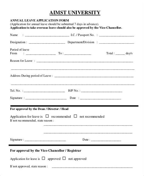 annual leave template form 35 application form sles free premium templates
