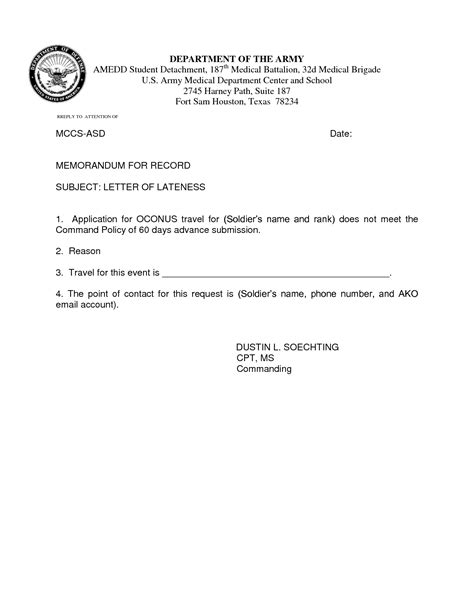 Award Letter Of Lateness Best Photos Of Army Justification Memo Exle Army Appointment Memo Exle Army Memorandum