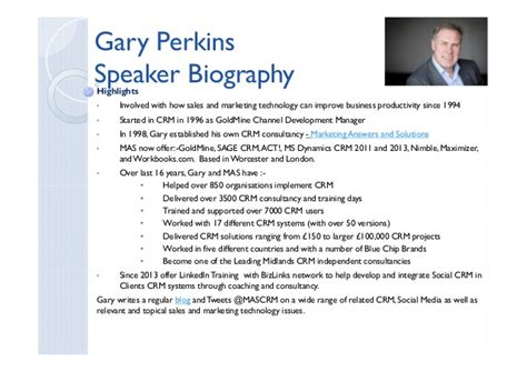 bio exles for presenters gary perkins speaker brief biography