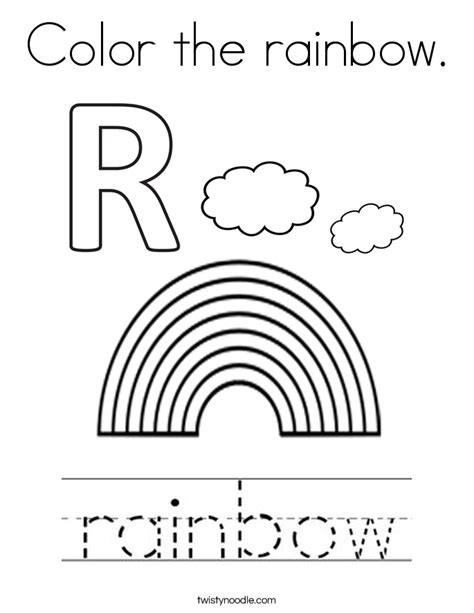 R Is For Rainbow Coloring Page by Color The Rainbow Coloring Page Twisty Noodle