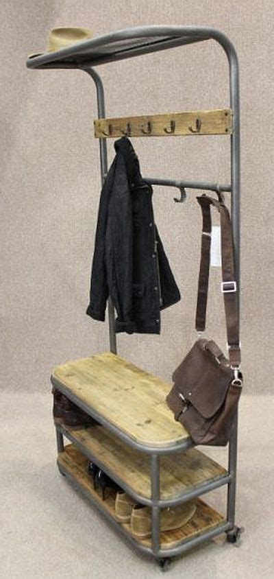 Shoe Rack Coat Stand by Industrial Coat Stand Metal And Reclaimed Pine Lockable