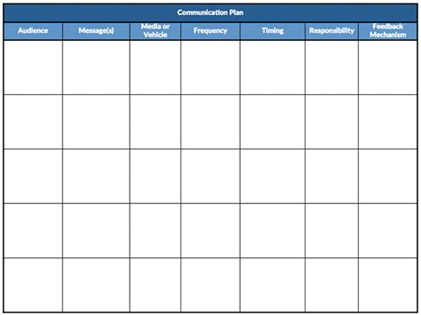 Communication Plans Template by Reaching Effectively Communication Plans Lean