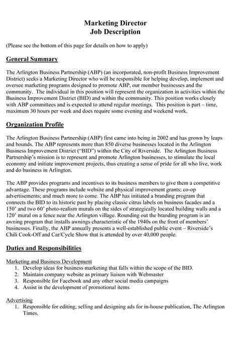 Marketing Director Roles And Responsibilities by Marketing Director Description