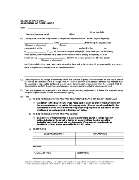 compliance statement template statement of compliance sle california free