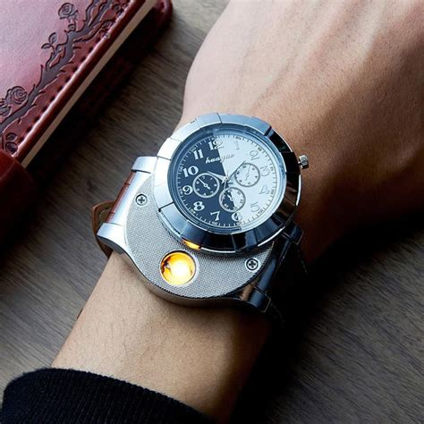 jual jam tangan pria korek elektrik usb hadiah api rokok