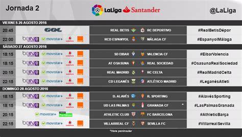 Calendario Y Horarios Liga Santander Horarios De La Jornada 2 De Laliga Santander 2016 17