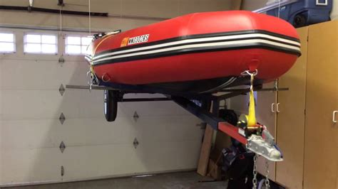 inflatable boat trailer winch garage boat trailer hoist youtube