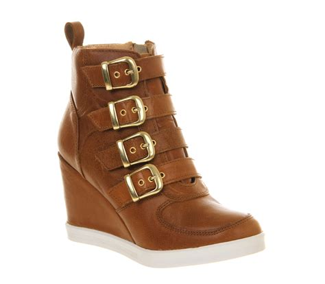 office buckle up wedge leather ankle boots
