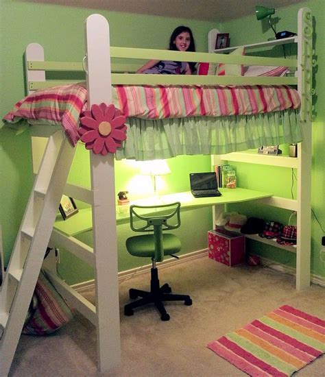 Diy Bed Desk Diy Loft Bed With Desk Woodworking Projects Plans