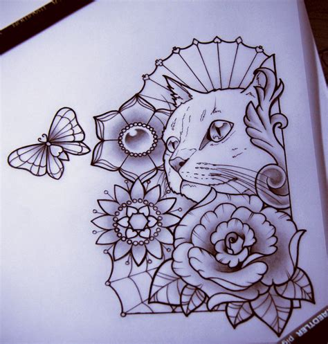 tattoo cat drawing nataliarey nati rey deviantart