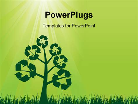 powerpoint templates free ecology powerpoint template recycle symbols on a tree with sun
