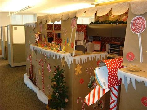 epic holiday office decorating contest our gingerbread house office cubicle yes we won the contest stuff i actually did make