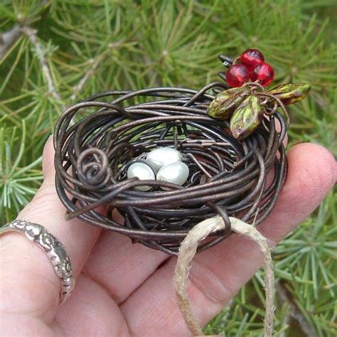 how to make a birds nest for xmas tree bird nest wire wrapped ornament copper ornament and inspiration
