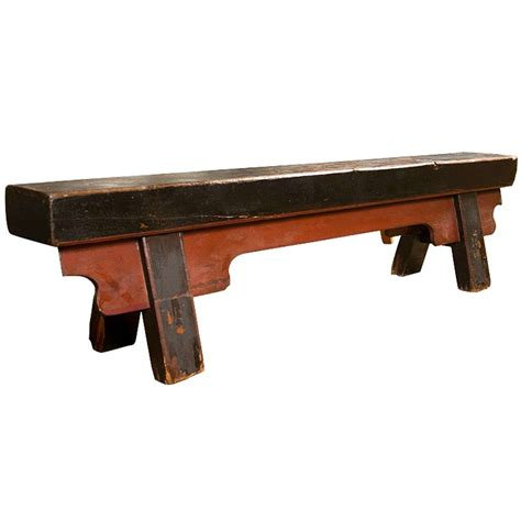 praying bench chinese painted antique elmwood prayer bench at 1stdibs