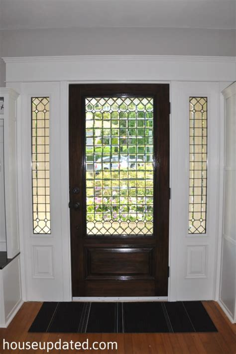 Leaded Glass Exterior Doors Leaded Glass Front Door Interior Stained Walnut White Trim House Pinterest