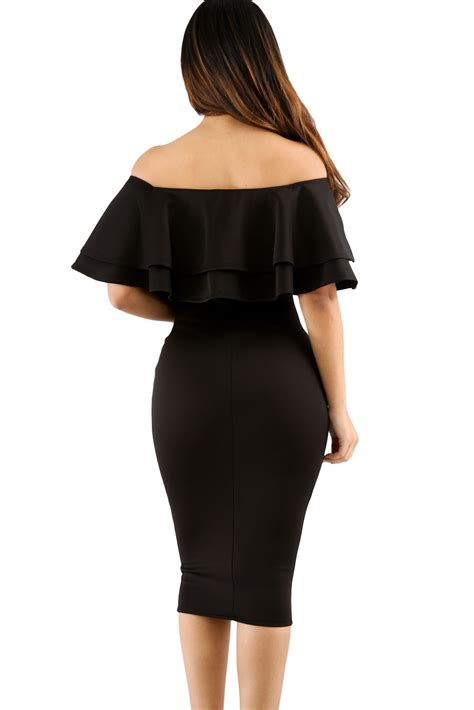Black Shoulder Dress black layered ruffle shoulder midi dress charming wear