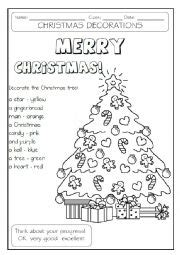decorate your own christmas tree worksheet worksheet decorate the tree