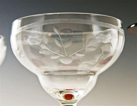 antique vintage art glass crystal glasses stemware antique crystal ruby etched stemware and service bell