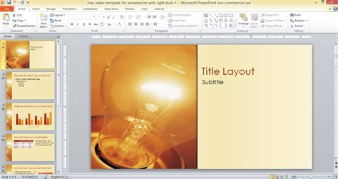 Free Ideas Template For Powerpoint With Light Bulb Powerpoint Theme Templates