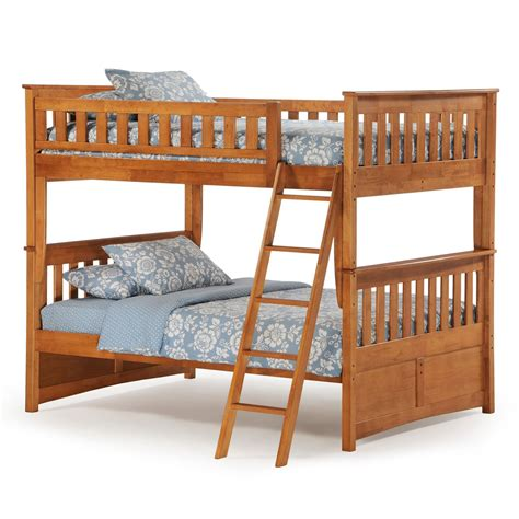 oak bunk bed night and day ginger full over full bunk bed