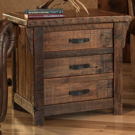 3 drawer end table rustic reclaimed barnwood 3 drawer end table