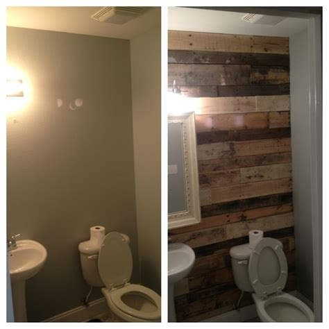 Pallet Wall Bathroom Half Bath Pallet Wall Before And After Bathroom Ideas Pinterest Pallet Walls Pallets And