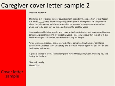 cover letter for a caregiver caregiver cover letter