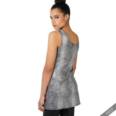 sleeveless a line top womens metallic snake print sleeveless a line top
