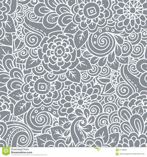 doodle tribal seamless floral retro doodle black and white pattern in