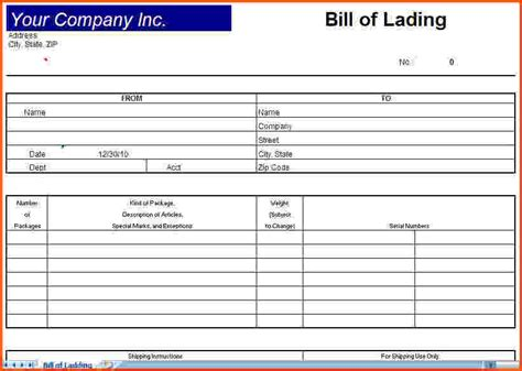 template bill of lading best resumes